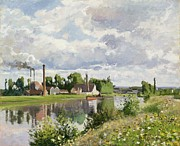 Chimneys Painting Framed Prints - The River Oise near Pontoise Framed Print by Camille Pissarro