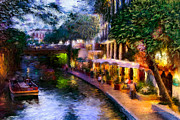 Shops Of River Walk Prints - The River Walk Print by Lisa  Spencer