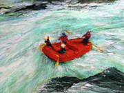 White Water Rafting Paintings - The River Wild by Mike Paget
