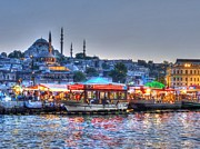 Mosque Prints - The Riverboats of Istanbul Print by Michael Garyet