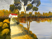 Dropped  Painting Prints - The Riverhouse Print by Pamela  Meredith