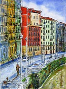 Bilbao Prints - The Riverside Houses at Bilbao La Vieja Print by Zaira Dzhaubaeva