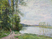 Roads Framed Prints - The Riverside Road from Veneux to Thomery Framed Print by Alfred Sisley
