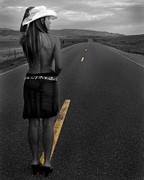 Cowgirl Skirt Posters - The Road Ahead Poster by Sleepy Weasel