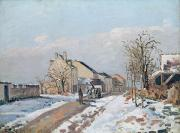 Snow On Road Posters - The Road from Gisors to Pontoise Poster by Camille Pissarro