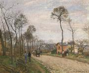 Camille Pissarro Posters - The Road from Louveciennes Poster by Camille Pissarro