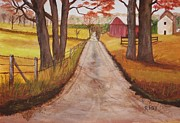Fall Scenes Paintings - The Road Home by Rich Fotia