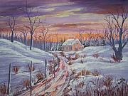 Winter Roads Painting Framed Prints - The Road Home Framed Print by Wendy Smith