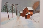 Snow Covered Pine Trees Paintings - The Road Home by William Demboski