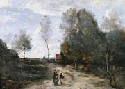Figures Painting Posters - The Road Poster by Jean Baptiste Camille Corot