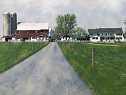 Amish Farm Posters - The Road That Leads To Home Poster by Kathy Jennings