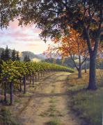 California Vineyard Paintings - The Road to Autumn by Patrick ORourke