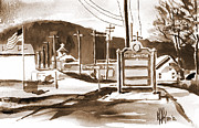 American City Mixed Media Prints - The Road to Farmington Pilot Knob Missouri Print by Kip DeVore