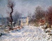 Snowfall Painting Framed Prints - The Road to Giverny in Winter Framed Print by Claude Monet