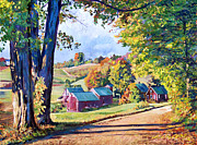 Impressionism Tapestries Textiles Originals - The Road to Jenne Farm Vermont by David Lloyd Glover