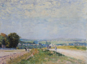 Path Painting Prints - The Road to Montbuisson at Louveciennes Print by Alfred Sisley