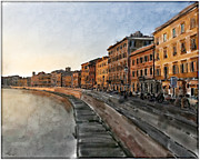 Buildings At Sunset Prints - The Road to Pisa Print by  Angel Pachkowski