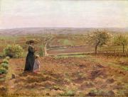 Road Paintings - The Road to Rouen by Camille Pissarro