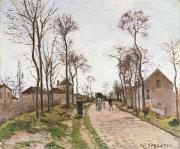 Road Paintings - The Road to Saint Cyr at Louveciennes by Camille Pissarro