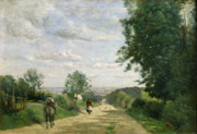 Corot Framed Prints - The Road to Sevres Framed Print by Jean Baptiste Camille Corot