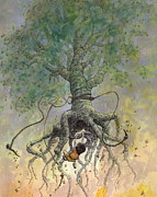 Surrealism Drawings Prints - The Roaming Oak Print by Ethan Harris