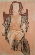 Alluring Drawings - The Robe by Lj Lambert