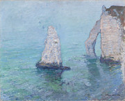 Impressionism Seascape Posters - The Rock Needle and the Porte dAval Poster by Claude Monet