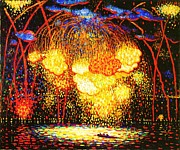 Fireworks Painting Metal Prints - The Rocket Metal Print by Pg Reproductions