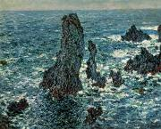 Breton Paintings - The Rocks at Belle Ile by Claude Monet