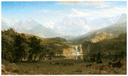 Fine American Art Prints - The Rocky Mountains Landers Peak Print by Albert Bierstadt