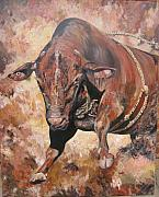 Bull Riding Paintings - The Rodeo Bull by Leonie Bell