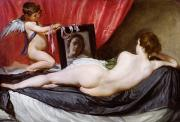 Mirror Painting Framed Prints - The Rokeby Venus Framed Print by Diego Rodriguez de Silva y Velazquez