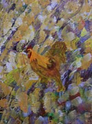 Country Scenes Pastels Metal Prints - The Rooster Metal Print by Roy Penny