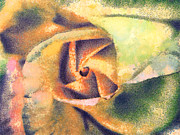 Gold Lame Painting Metal Prints - The rose Metal Print by Odon Czintos