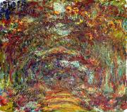 Tree-lined Prints - The Rose Path Giverny Print by Claude Monet