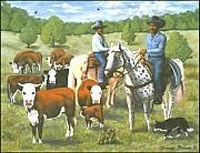 Ranchers Paintings - The Roundup by Henry Frison