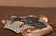 Science Fiction Photo Prints - The Rovers Landing Site, The Columbia Print by Stocktrek Images