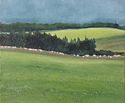 Francois Fournier Paintings - The Row of sheep NDB Quebec Canada by Francois Fournier