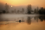 Langley Prints - the Rower in the Mist Print by Detlef Klahm