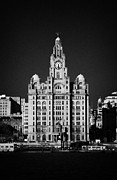 Sky Line Art - The Royal Liver Building On The Liverpool Waterfront Shoreline Merseyside England Uk by Joe Fox