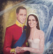 Bride And Groom Paintings - The Royal Wedding by Nicole Shaw