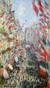 June Framed Prints - The Rue Montorgueil Framed Print by Claude Monet