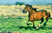 Pond In Park Painting Prints - The running horse Print by Odon Czintos