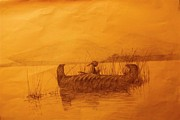 Canoe Drawings Metal Prints - The Rush Gatherer Metal Print by Ronald Gillis