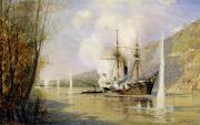 Cannon Painting Framed Prints - The Russian Destroyer Shutka attacking a Turkish ship on the 16th June 1877 Framed Print by Aleksei Petrovich Bogolyubov