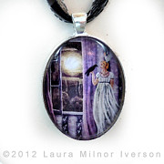Night Jewelry - The Rustling Purple Curtains Pendant by Laura Iverson