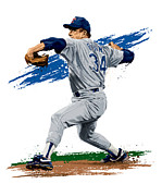 Baseball Glove Digital Art Posters - The Ryan Express Poster by David E Wilkinson