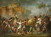 Women Children Framed Prints - The Sabine Women Framed Print by Jacques Louis David