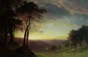 Hills Paintings - The Sacramento River Valley  by Albert Bierstadt