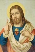 Christ Painting Posters - The Sacred Heart Poster by French School